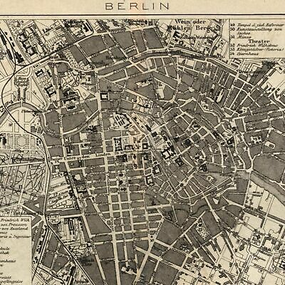 Berlin Germany 1873 detailed old city plan map extensive key