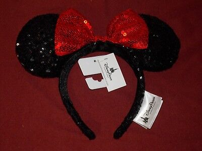 Disney Parks Minnie Mouse Ear Black with Red Bow Sequin Headband Hat/Cap (NEW)