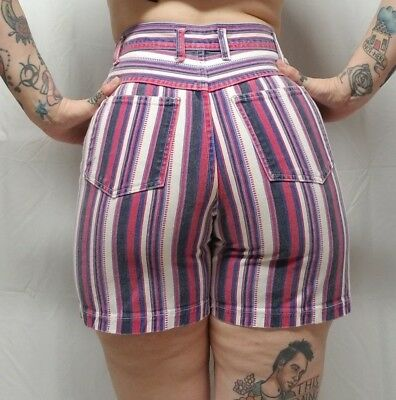 Vtg 80s/90s Wedgie High Waist Colored Striped Denim Mom Jean Shorts Womens S/M