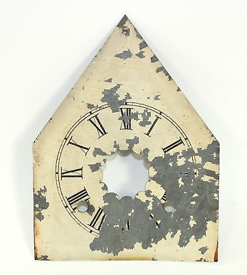 Antique Painted Metal Steeple Shaped Clock Dial- Ll242
