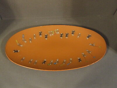 Vintage Textured Glass Japanese Reverse Painted Laquer Oval Dish Serving Tray
