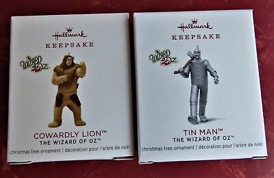 Hallmark Keepsake Wizard Of Oz Mini Tin Man & Cowardly Lion Le Ornaments 2018