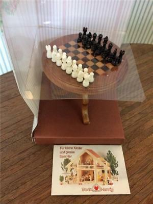 Dollhouse Miniatures Bodo Hennig  Chess Set  Inlaid Table  NIB  NOS  Germany