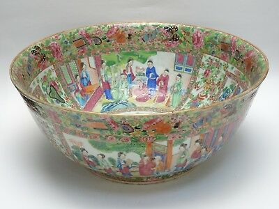 VERY LARGE ANTIQUE 19c. QING PORCELAIN ROSE MANDARIN  PUNCH BOWL ~ 15.5""