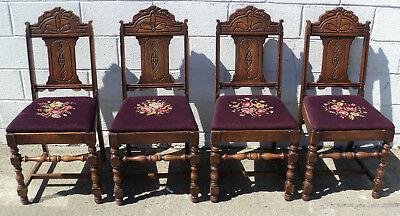 4 Victorian Aesthetic Gothic English Chairs With Purple Embroidered Seats