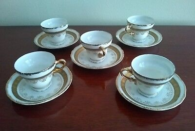 Lot of 5 Vintage Demitasse White Gold Tea cup and Saucer Sets Pre WWII Japan