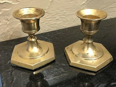 "PAIR of Vintage Brass Candlesticks Candle Sticks Taper Holders  2 5/8"" Tall"