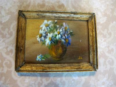 Dollhouse Miniature Daisies  Art Painting signed Josephine Meyer 1977 1/12 Scale