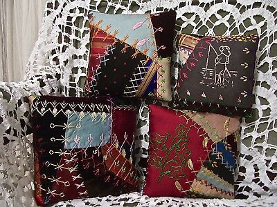 PILLOW PUFFS from 1880-90s CRAZY QUILT~EXQUISITE EMBROIDERY~IVY~BOY FISHING~
