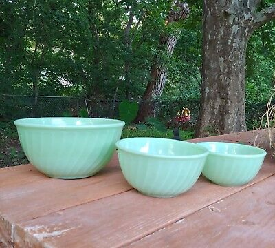 Vtg FireKing Jadite Bowls Lot Of 3
