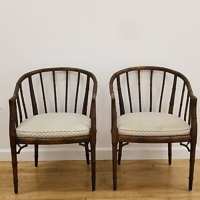 Mid Century Hollywood Regency Faux Bamboo Chinoserie Barrel Chairs - A Pair