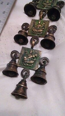 Indian Hindu Goddess Laxmi Prayer Bells A String 6 Blocks Of Brass Wall Hanging