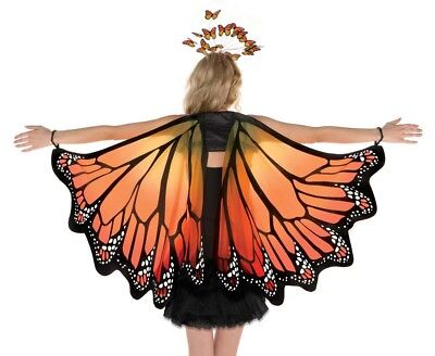 Orange Monarch Butterfly Wings Adult Costume Accessory, One Size
