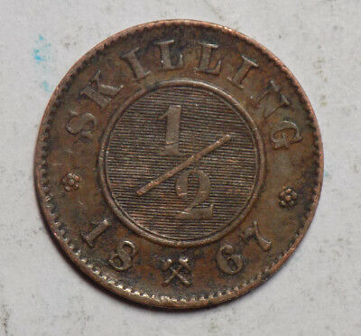 Norway 1867 1/2 Skilling Coin