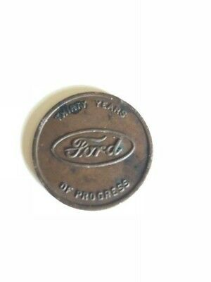 Ford 30 Years of Progress Coin. 1903 to 1933. V8 LOGO & Ford Oval.