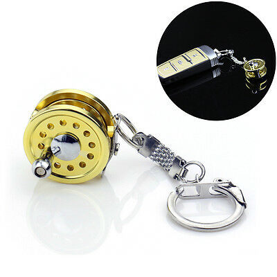 Cool Fly Fishing Reel Miniature Novelty Gift Charm diameter 25 mm Key Chain JR