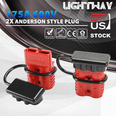 Red Anderson Plug w/ Dust Cover 175A 600V Quick Connector Power Charger SB175
