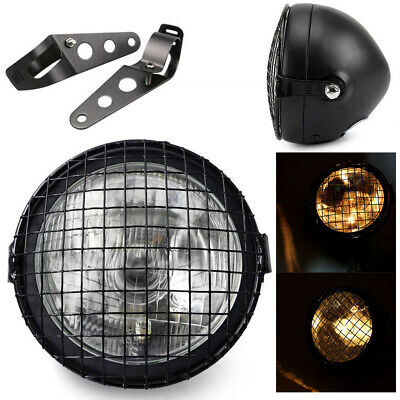 "Black 6.5"" Retro Motorcycle Headlight+Grill Side Mount Cover+Bracket Cafe Racer"
