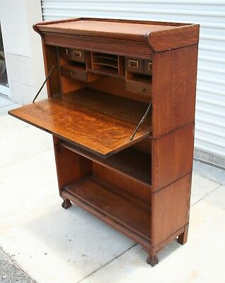Antique Drop Front Desk Oak Barrister Lawyer's Bookcase GRM with Claw Feet