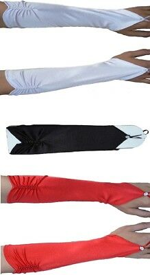 Formal Wedding 20s Flapper Fingerless Long Satin Beaded Gloves White Black Red