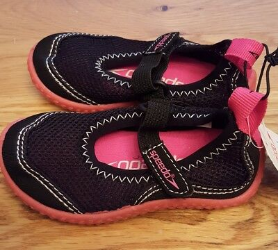 NWT Baby Girls SPEEDO Swim Water Summer Sandals Shoes Black & PInk Size 5-6