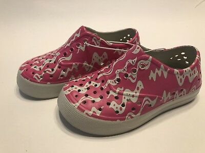 dedd105a512f Girls Pink White Slip On Rubber Sneakers Water Proof Shoes Toddler Sz 10