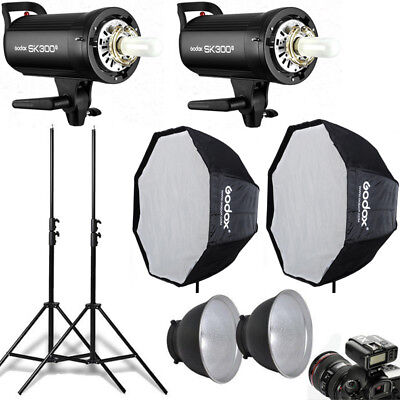 2Pcs Godox SK300II 300W 2.4G Studio Flash Strobe + Softbox + Trigger + Stand Kit