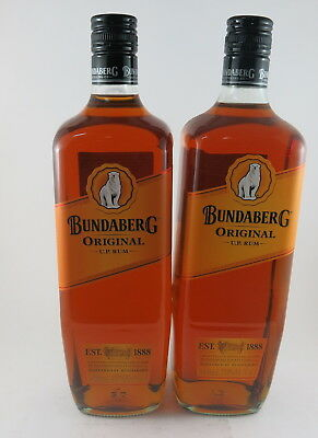 2 X Bundaberg Rum Up Underproof Est 1888 Bottom Label 1 Litre, With Error Label