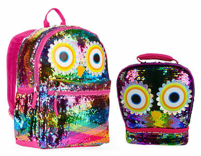 """Rainbow Owl 2-Way Sequins Critter 16"""" Backpack & Lunch Bag New School Book Totes"""