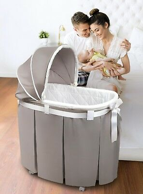 Baby Bassinet Cradle Infant Moses Basket Nursery Bed Full Length Skirt, Gray