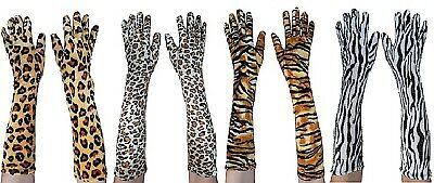 Animal Print Long Gloves Tiger Leopard Jaguar Zebra Costume Accessory