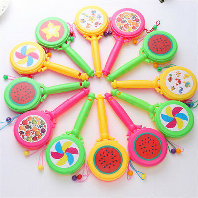 Plastic Shacking Rattle Musical Hand Bell Drum Toy Musical Instrument Gift STDE