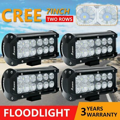 """4x 7"""" inch CREE 60W CREE LED Light Bar Flood Work Offroad Driving Lamp 4WD SUV"""