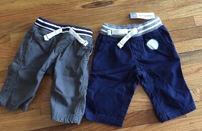 Nwt Carters 3 Months Boys 2 Pairs Pants Bottom Set Pack NWOT Blue Gray Pull On