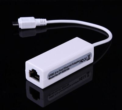 1PC Micro USB 2.0 to Ethernet 10/100 RJ45 Network LAN Adapter Card Dongle au