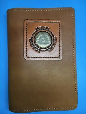 Alcoholics Anonymous Leather Big Book slip-on cover with coin holder,custom made