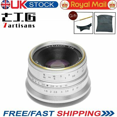 UK 7artisans 25mm F1.8 Manual Focus Prime Fixed Lens for Fuji FX Mount (Silver)