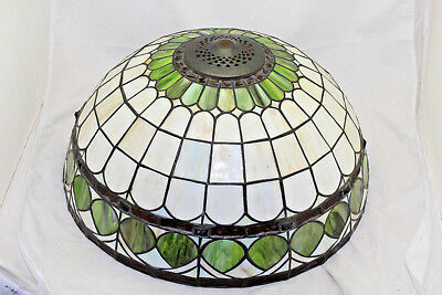 Beautiful Antique Slag or Stained Leaded Glass Lamp Shade Arts & Crafts 16""