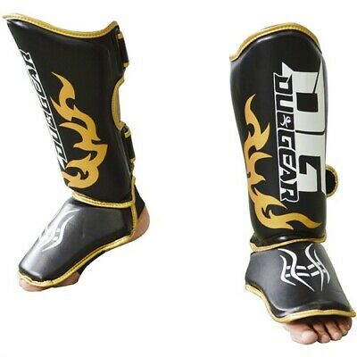 Black 'dg2018  Strap Synthetic Shin Instep Protectors Pair For Muay Thai