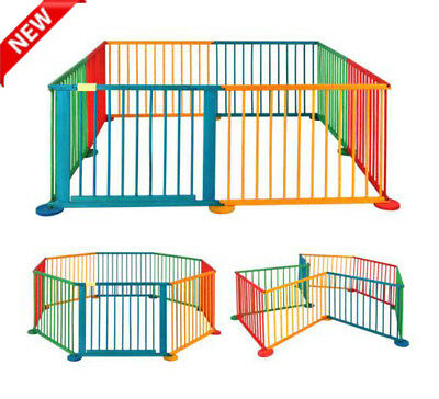 Folding Wooden Baby Playpen Room 6/8 Panel Play Yard Fence for Kid Child Toddler