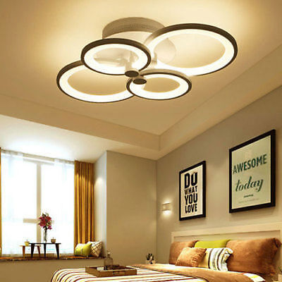 Modern 4 LED Acrylic Ceiling Lights Bedroom Living Room Remote Control