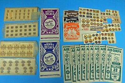 Large lot of vintage 1940s WWII era military theme decal sheets for scale models