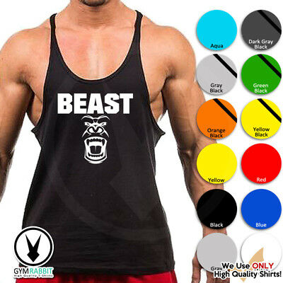 BEAST Mode Gorilla Gym Singlets Men's Tank Top Bodybuilding Workout c93 Art-13