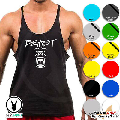 BEAST Mode Gorilla Gym Singlets Men's Tank Top Bodybuilding Workout c93 Art-10
