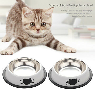 2pcs Stainless Steel Cat Bowls Pet Food Water Bowls Cat Dog Feeding Bowls NEW