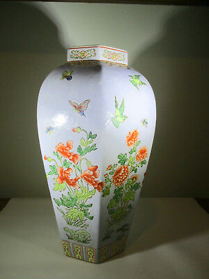 Maitland Smith Vintage Chinese Hexagonal Vase Lt Blue Porcelain Floral Birds 14""