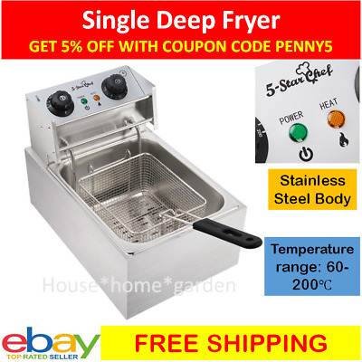 NEW 5 Star Chef Commercial Stainless Steel Deep Fryer W/ Single Basket Bench Top