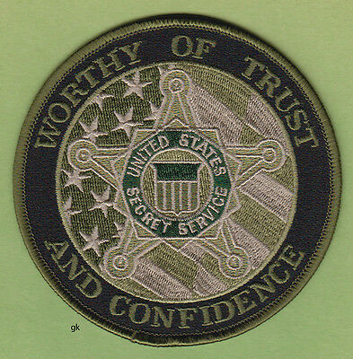 US SECRET SERVICE  WORTHY  OF TRUST & CONFIDENCE SHOULDER PATCH  (Subdued-Green)