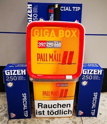 2 x Pall Mall Allround Red Volumentabak Giga Box 290g, 750 Hülsen,2 Feuer