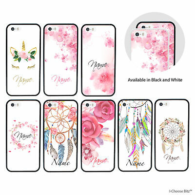 Floral Personalised Custom Name Case/Cover for iPhone 5/5s/SE/6/6s/7/8/10/X